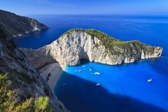 Het strand van Navagio in Zakynthos, Griekenland Stock Fotografie