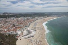 Het Strand van Nazare, Portugal Royalty-vrije Stock Afbeeldingen