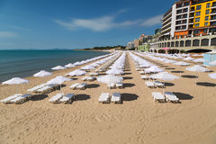 Het strand van Nessebar op de Bulgaarse kust van de Zwarte Zee Royalty-vrije Stock Fotografie