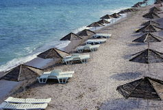 Het strand van Nessebarbulgarije in de oude stad Stock Fotografie