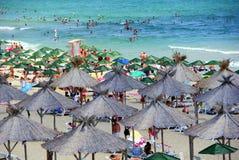 Het strand van Nessebarbulgarije in het nieuwe deel van de stad Royalty-vrije Stock Afbeelding