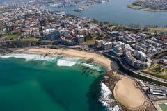 Het Strand van Newcastle - luchtmening Newcastle NSW Australië Royalty-vrije Stock Afbeeldingen