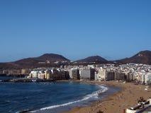 Het strand van panoramaplaya Las Canteras in Las Palmas Grote Kanarie Isl Stock Afbeelding
