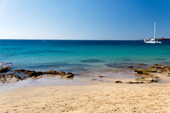 Het Strand van Papagayo van Playa, Lanzarote, Spanje, Ti van de zomer Stock Afbeeldingen