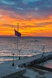 Het strand van Paraliakaterini, bij zonsopgang Stock Afbeelding