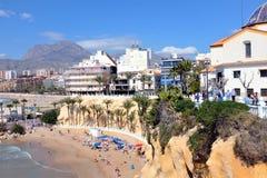 Het strand van Playamal pas, Benidorm, Spanje stock afbeeldingen