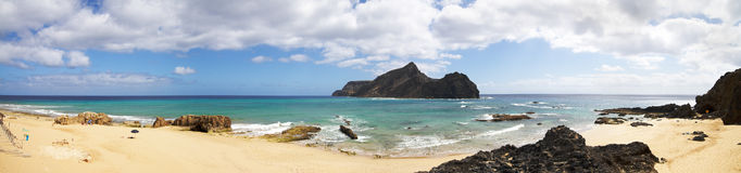 Het strand van Pontada Calheta Stock Foto's