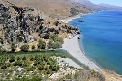 Het strand van Preveli in Kreta, Griekenland Royalty-vrije Stock Afbeeldingen
