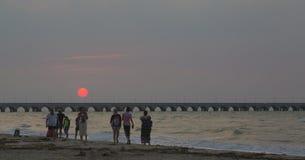 Het strand van Puertoprogreso, 30 minuten van de stad van Merida stock afbeeldingen