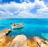 Het strand van Pujols van Els in Formentera Stock Afbeeldingen