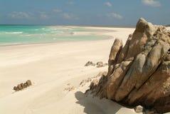 Het strand van Qalansiya bij eiland Socotra Royalty-vrije Stock Fotografie