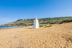 Het Strand van Ramla aan de noordelijke kant van Gozo, Malta stock foto's