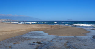Het strand van Rethymno Stock Afbeelding