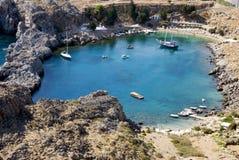 Het strand van Rhodos - Griekenland stock afbeelding