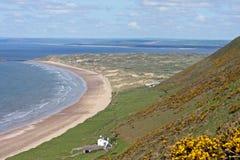 Het strand van Rhossili, Wales Stock Afbeeldingen