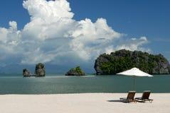 Het Strand van Rhu van Tanjung, Langkawi in Maleisië Stock Afbeeldingen