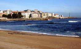 Het strand van Riazor Stock Foto