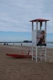 Het strand van rimini op een regenachtige dag Stock Foto's