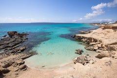 Het strand van S Calo des Mort, Formentera, Spanje Royalty-vrije Stock Afbeelding