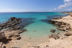 Het strand van S Calo des Mort, Formentera, Spanje Stock Afbeelding