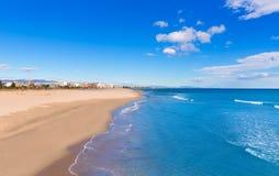 Het strand van Sagunto in Valencia in zonnige dag in Spanje Stock Foto