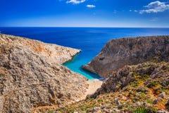 Het strand van Seitanlimania op Kreta Stock Afbeeldingen