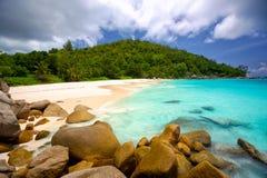 het strand van Seychellen Royalty-vrije Stock Afbeelding