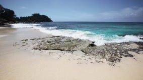 Het strand van Seychellen met blauwe oceaanmening stock video