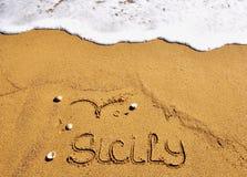 Het strand van Sicilië, Italië Stock Afbeelding