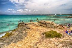 Het strand van Suina van Puntadella dichtbij Gallipoli in Salento Apulia Ita Stock Foto