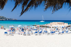Het strand van Tarida, Ibiza, Spanje Royalty-vrije Stock Foto's