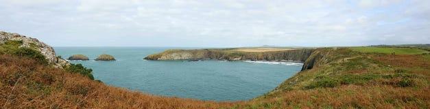 Het strand van Traethllyfn tussen Porthgain en Abereiddi Pembrokeshirekust Royalty-vrije Stock Fotografie