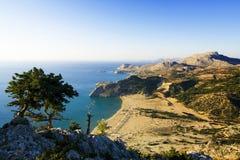 Het strand van Tsampika in Griekenland - vogelperspectief Royalty-vrije Stock Foto's