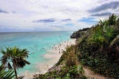 Het Strand van Tulum, Mayan Riviera, Mexico Stock Afbeelding