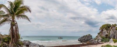 Het Strand van Tulum, Mexico Stock Foto's