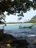 Het Strand van Ujunggenteng, het verborgen paradijs in West-Java Royalty-vrije Stock Afbeeldingen