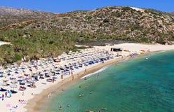Het strand van Vai bij het eiland van Kreta in Griekenland Stock Foto's