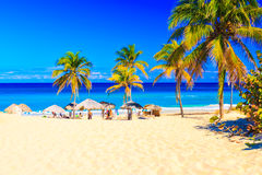 Het strand van Varadero in Cuba stock foto's