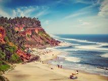 Het strand van Varkala, Kerala, India stock foto's