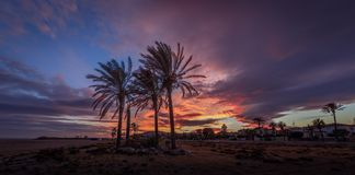 Het strand van Vera bij zonsondergang Royalty-vrije Stock Afbeeldingen