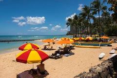 Het strand van Waikiki, Hawaï Royalty-vrije Stock Afbeeldingen