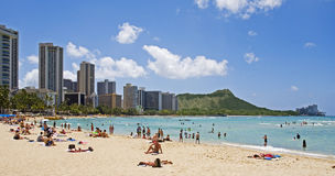 Het Strand van Waikiki, Oahu, Hawaï royalty-vrije stock fotografie