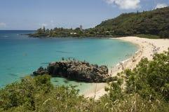 Het Strand van Waimea in Oahu, Hawaï. De Kust van het noorden Stock Foto