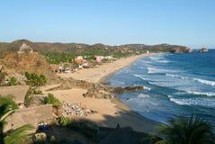 Het strand van Zipolite op Mexico royalty-vrije stock afbeeldingen