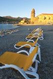 Het strand van zonsopgangcollioure royalty-vrije stock fotografie