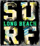 Het strand vectorachtergrond van de brandingszomer in retro stijl Stock Foto