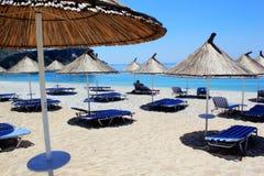 Het strand in Vlora, Albanië Royalty-vrije Stock Afbeeldingen