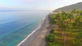 Het strand is zeer mooi met zwart zand en een overweldigende blauwe overzees stock videobeelden