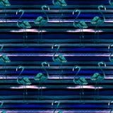 Het strandachtergrond van de zomer Waterverf naadloos patroon Hand Geschilderd Tropisch de Zomermotief met Flamingo en Streep Stock Afbeelding