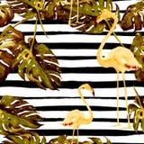 Het strandachtergrond van de zomer Waterverf naadloos patroon Hand Geschilderd Tropisch de Zomermotief met Hawaiiaanse bomen Stock Afbeelding